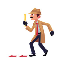Detective character following tiptoeing after vector