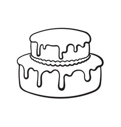 Doodle double-tiered cream cake with glaze vector