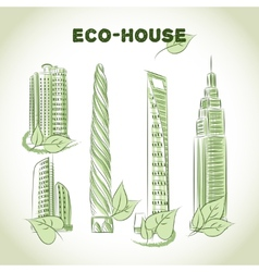 Eco green buildings icons vector