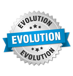 Evolution round isolated silver badge vector