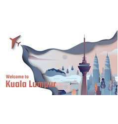 famous places in kuala lumpur malaysia vector image