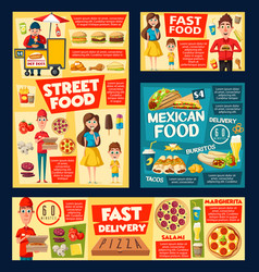 fast food burger pizza hot dog soda ice cream vector image