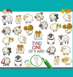 Find one of a kind with sheep characters vector