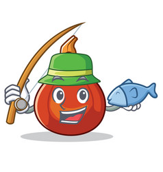 Fishing red kuri squash mascot cartoon vector