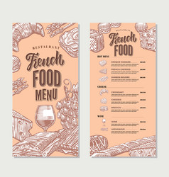 french food restaurant menu vintage template vector image