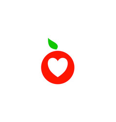 fruit love logo design element vector image