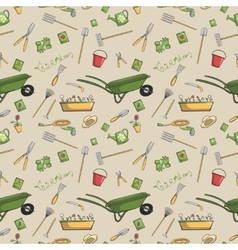 Garden tools seamless pattern vector image