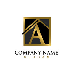 gold letter a house logo vector image