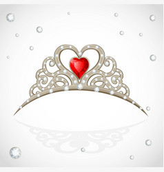 Golden jewelry tiara with diamonds and faceted vector