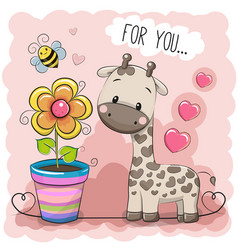 Greeting card cute cartoon giraffe with a flower vector