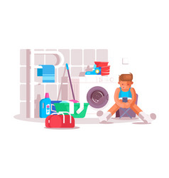 guy in laundry room vector image