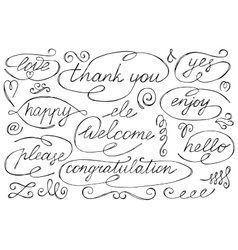 Hand Drawn Words Collection vector image