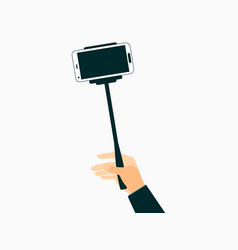 hand holds a selfie stick with smartphones vector image