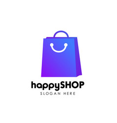 happy shop logo design template shopping logo vector image