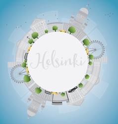 Helsinki skyline with grey buildings vector