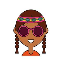 Hippie woman icon vector