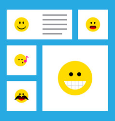 Icon flat face set of sing smile whiskers and vector