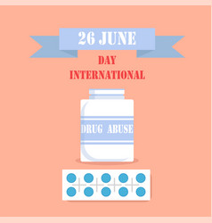 International day drag abuse 26 june poster vector