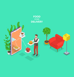 isometric flat concept of food home vector image
