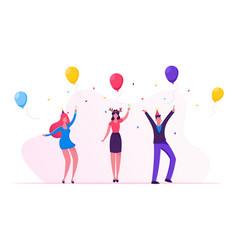 joyful friends or colleagues team celebrating vector image
