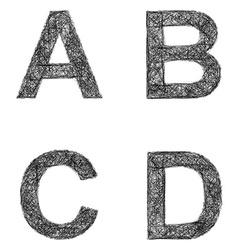 Line art font set - letters a b c d vector