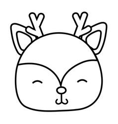 line shy deer head wild animal vector image