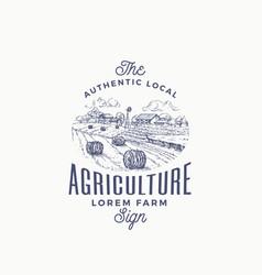 local agriculture farm retro badge or logo vector image