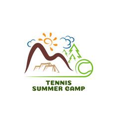 Logo tennis summar camp fun cartoon vector