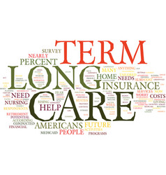 Long term care the ignored need text background vector