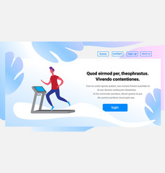 Man running treadmill cartoon character sport male vector