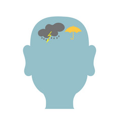 mans head outline with storm inside vector image
