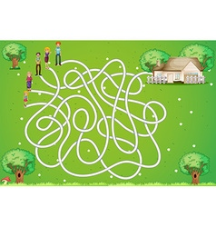 Maze game with family and house vector