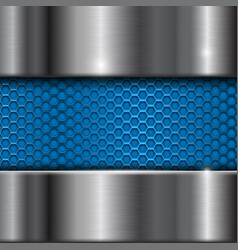 metal stainless steel background with blue vector image