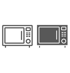 microwave oven line and glyph icon kitchen vector image