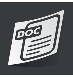 Monochrome DOC file sticker vector