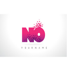 no n o letter logo with pink purple color and vector image