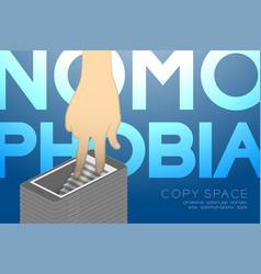 nomophobia syndrome smartphone addiction concept vector image