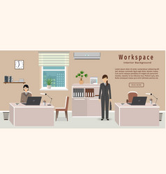 Office room interior including two work spaces vector