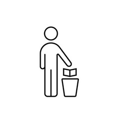 Outline man with trash can vector