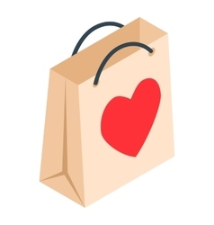 Paper shopping bag with heart isometric 3d icon vector