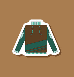 paper sticker on stylish background skiing sweater vector image