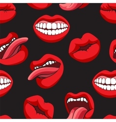 Pop art style mouth seamless pattern vector