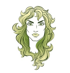 Portrait of green long haired girl isolated on vector