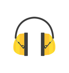 Protective ear muffs yellow headphones for vector