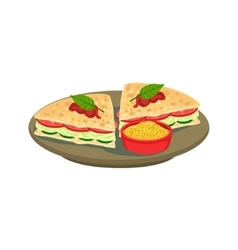 Quesadilla Cut Sandwich Traditional Mexican vector