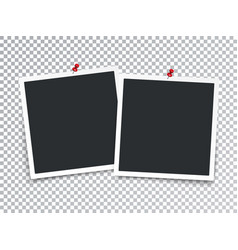 realistic photo frames with pin isolated vector image