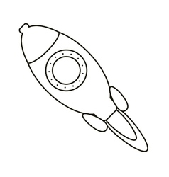 Rocket startup launching outline vector