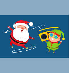 santa and elf cartoon characters listen to music vector image