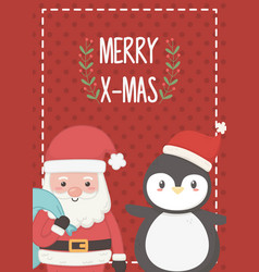 santa with bag and penguin merry christmas card vector image