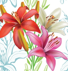 Seamless floral pattern with lilies on white vector
